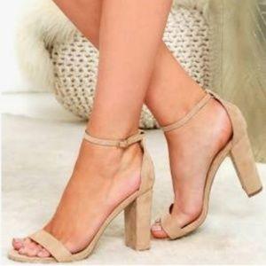 Bonnibel Nude Suede Strappy Side Buckle Heel S11